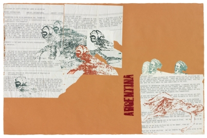 Nancy Spero, Argentina, 1981, handprinting and typewriter collage on paper, 26.5 x 40.5 inches (67.3 x 102.9 cm) © The Estate of Nancy Spero. Courtesy Galerie Lelong, New York.