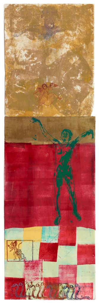Nancy Spero, The Underworld, 1997, handprinting and printed collage on paper, 63 x 19 inches (160 x 48.3 cm)© The Estate of Nancy Spero. Courtesy Galerie Lelong, New York.