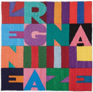 Alighiero Boetti, L'ENERGIA INIZIALE, 1992, embroidery on fabric; 8 7/8 x 8 15/16 inches (22.5 x 22.7 cm). Courtesy the Gladstone Gallery.