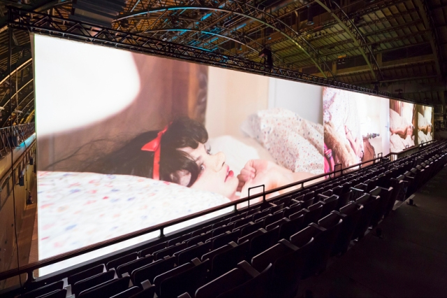Paul McCarthy, WS, 2013, installation view of multi-channel projection. Courtesy of the artist and Hauser & Wirth. Installation photo at Park Avenue Armory by James Ewing.