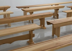 Francis Cape, Utopian Benches, 2011. Installation view Arcadia University Art Gallery, Glendale, PA.