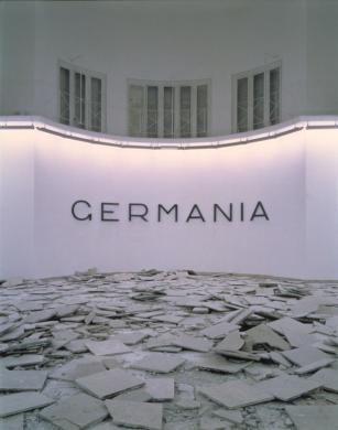 Hans Haacke, Germania, 1993. Installation view: German Pavilion, 45th Venice Biennale. © Hans Haacke/Artists Rights Society.