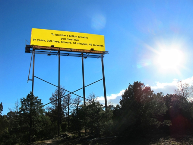Jill O'Bryan, A Billion Breaths, 2013, in situ in New Mexico's Route's I-25. Courtesy of the artist.