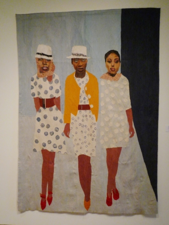 Sam Nhlengethwa and Marguerite Stephens, The Models, 2011. Woven mohair tapestry. Courtesy Goodman Gallery, South Africa. Photo the author.
