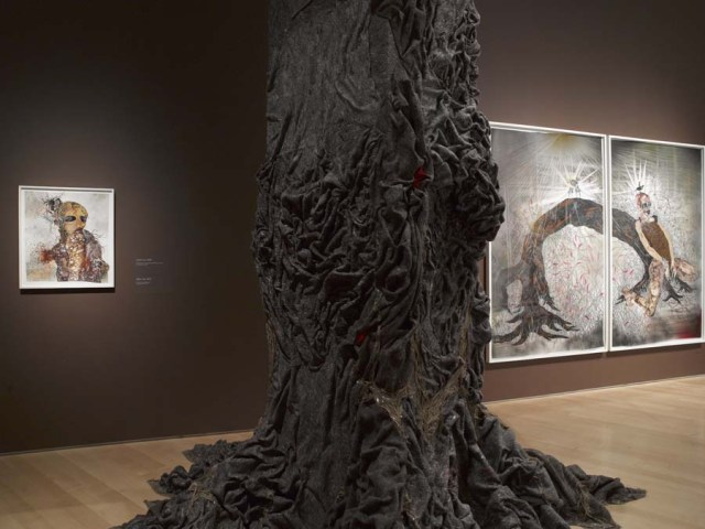 Wangechi Mutu: A Fantastic Journey, 2014, installation view. Courtesy of the Elizabeth A. Sackler Center for Feminist Art, Brooklyn Museum.