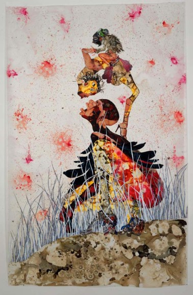 Wangechi Mutu, Misguided Little Unforgivable Hierarchies, 2005. Ink, acrylic, collage, and contact paper on Mylar; 81 x 52 inches (205.74 x 132.08 cm). San Francisco Museum of Modern Art. Purchase through a gift of The Buddy Taub Foundation, Jill and Dennis Roach, Directors, 2005.184. Image courtesy of Susanne Vielmetter Los Angeles Projects. © Wangechi Mutu. Photo by Joshua White.