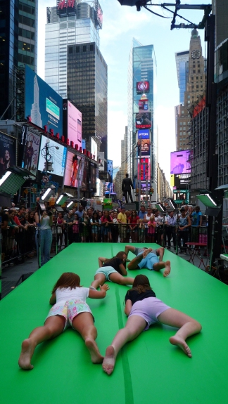Participants during the filming of Storming Times Square, July 24, 2014. Photo © Kathleen MacQueen.