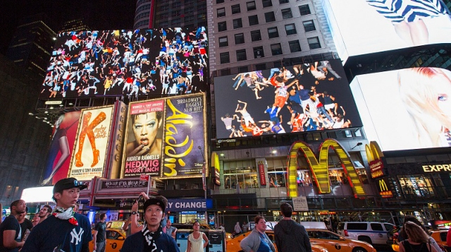 Midnight Moment: Daniel Canogar, Storming Times Square, 2014. Photograph by Ka-Man Tse for @TSqArts.