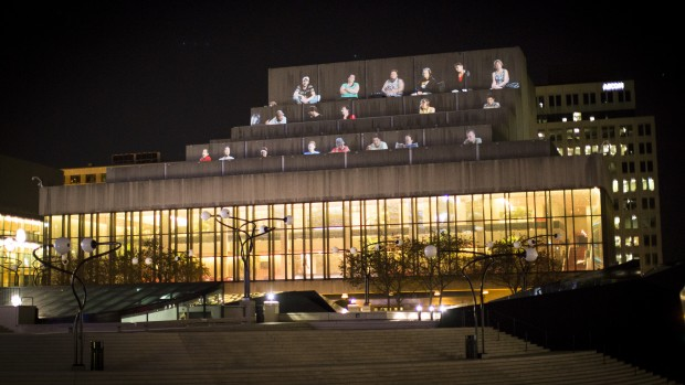 Projection on the facade of Théâtre Maisonneuve, Place des Arts (14:45 min). Courtesy Musée d'Art Contemporain de Montréal.