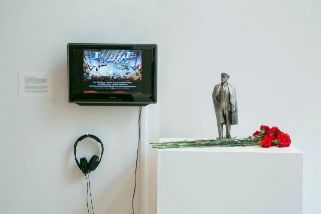 """Yevgeniy Fiks, Has anyone ever wondered?, 2014, in """"The Lenin Museum"""" at The James Gallery, The Graduate Center, CUNY. Photo: Julia Sherman."""