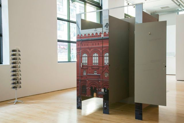 """Yevgeniy Fiks, Untitled (The Lenin Museum), 2014, and Untitled (Postcards), 2014, in """"The Lenin Museum"""" at The James Gallery, The Graduate Center, CUNY. Photo: Julia Sherman."""