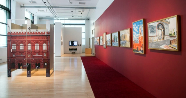 """Yevgeniy Fiks, Untitled (The Lenin Museum), 2014; Anatoly, 2014; and Pleshkas of the Revolution, 2013, in """"The Lenin Museum"""" at The James Gallery, The Graduate Center, CUNY. Photo: Julia Sherman."""