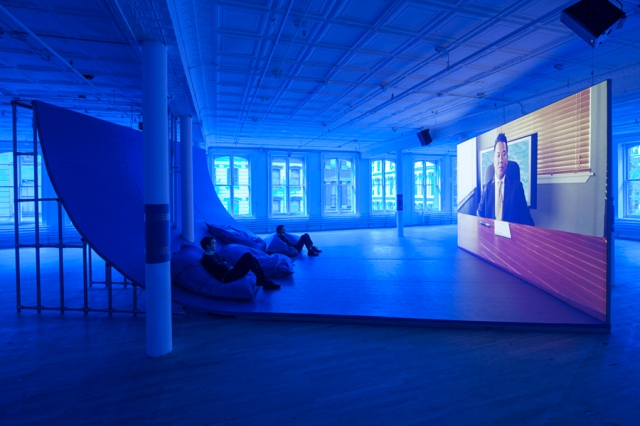 Hito Steyerl, Liquidity, Inc., 2014, HD video with sound, 30 mins, installation view from Hito Steyerl, Artists Space, 2015. Courtesy of the artist; Andrew Kreps, New York; and Wilfried Lentz, Rotterdam.