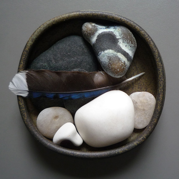 Still life: Rocks and Feather, photo © Kathleen MacQueen.